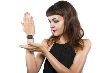 female wearing a generic non branded smart watch