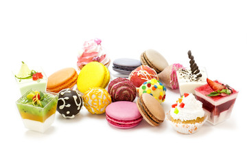 dessert, candy and cookies on a white background