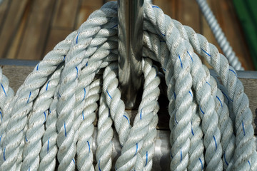 ship rope on a sea sailing vessel