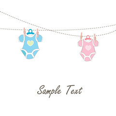 Baby Card hanging baby baby clothing icons vector