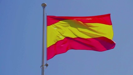 Civil, commercial Spain flag without coat of arms, slow motion
