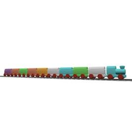 Kleurige trein vanaf de zijkant