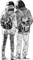 sketch of the young couple