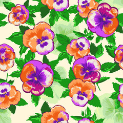Pansy flowers ~ seamless background