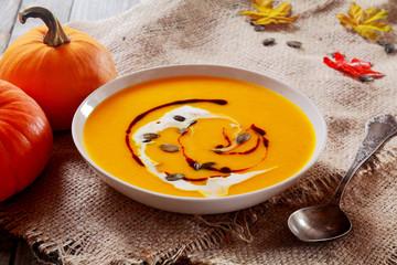 Delicious bowl of autumn pumpkin soup