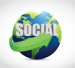 social globe sign illustration design