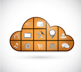 cloud and tools icons illustration