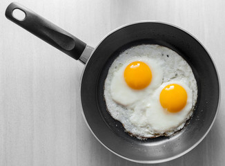 Two scrambled eggs in black frying pan on white wooden table