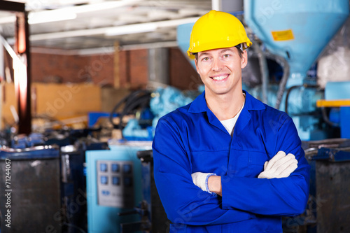 canvas print picture blue collar worker