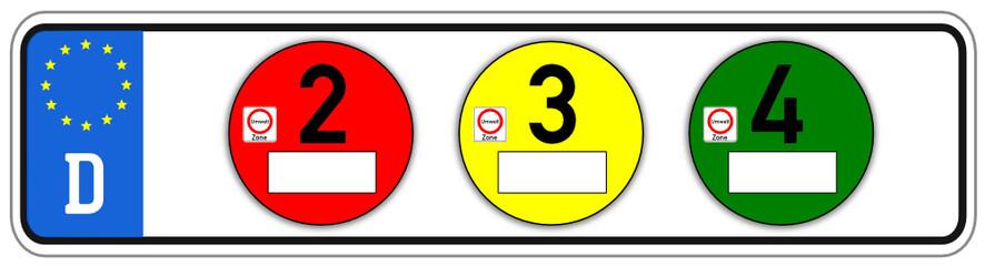 Feinstaub Plakette Schild  #141007-svg04