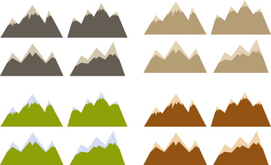 Vector pack of various mountains silhouettes and shapes