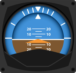 vector illustration of airplane attitude indicator