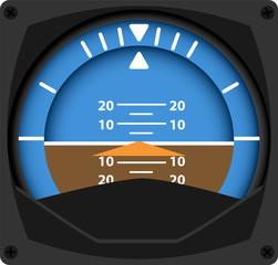 vector illustration of airplane attitude indicator