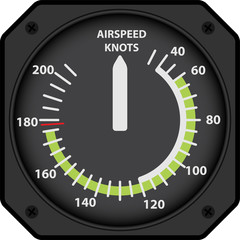Vector analogical aircraft airspeed indicator