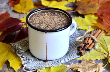 Hot chocolate on autumn background.