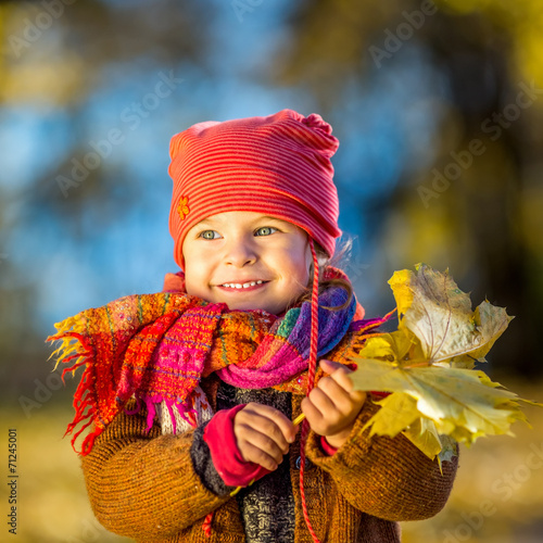 canvas print picture Little girl playing with autumn leaves