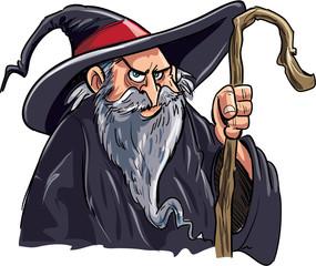 Cartoon wizard with a staff