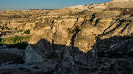 Aerial view of   Cappadocia,  shadow  time lapse