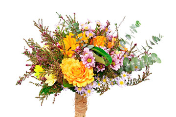 Beautiful bouquet of flowers with autumn decoration