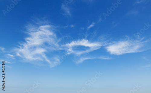 Leinwanddruck Bild Natural blue cloudy sky background photo texture