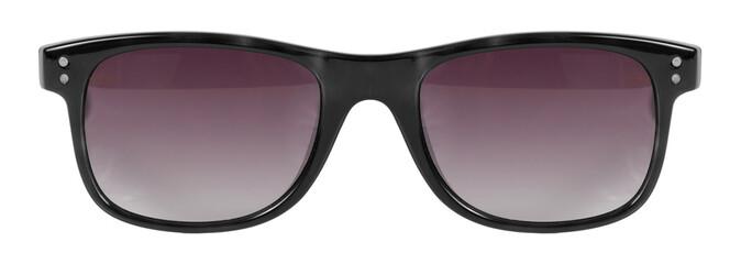 Sunglasses black frame red lens isolated white nobody
