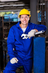 male manual worker holding spanner
