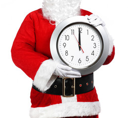 Santa Claus holding a clock