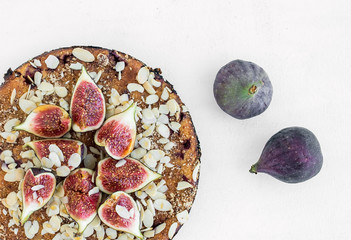 Fig pie on a white surface