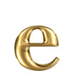 Golden letter e lowercase high quality 3d render isolated