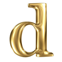 Golden letter d lowercase high quality 3d render isolated