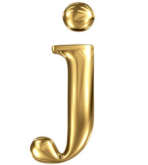 Golden letter j lowercase high quality 3d render isolated