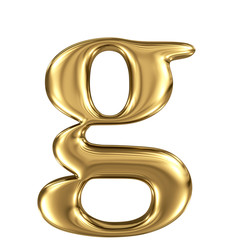 Golden letter g lowercase high quality 3d render isolated