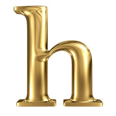 Golden letter h lowercase high quality 3d render isolated