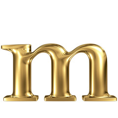 Golden letter m lowercase high quality 3d render isolated