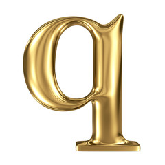 Golden letter q lowercase high quality 3d render isolated