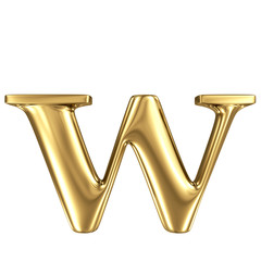 Golden letter w lowercase high quality 3d render isolated