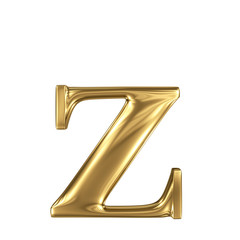Golden letter z lowercase high quality 3d render isolated