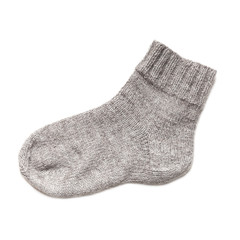 Gray woolen sock isolated on white background