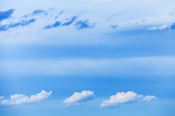 Natural bright blue cloudy sky background photo texture