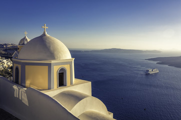Traditional small church in Thira, Santorini, Greece