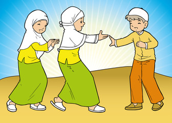 Indonesian muslim kids playing