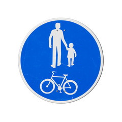 Bicycles And Pedestrians Only. Blue round road sign isolated on