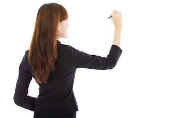 professional businesswoman drawing on the white background
