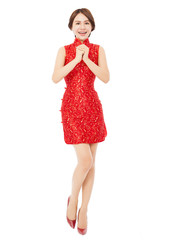 happy chinese new year.beautiful asian woman with congratulation