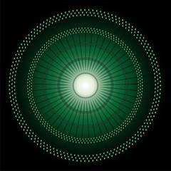 Abstract Circles mosaic Vector dark green Background