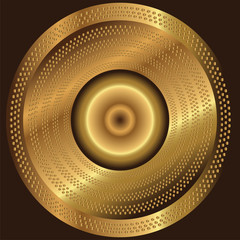 Abstract circular golden background with halftone