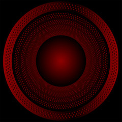 Circular brushed metal texture with dots vector red background