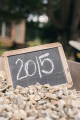 2015 on a vintage chalkboard