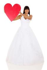 bride presenting heart shape