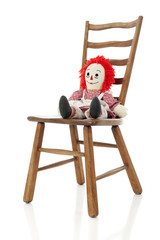 Rag Doll on a Ladder-back Chair